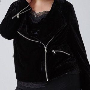 Lane Bryant Jackets & Coats - Velvet Moto Jacket